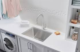 a stunning stainless steel laundry sink with dual mount installation