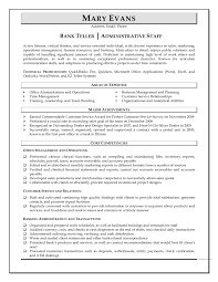 Resume Format For Banking Jobs Sample Resume For Bank Teller With Experience Template Example