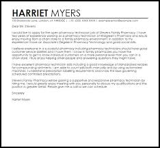 Pharmacy Technician Sample Cover Letter Cover Letter Templates