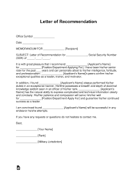 letter of recommendation army form free military letter of recommendation templates samples and