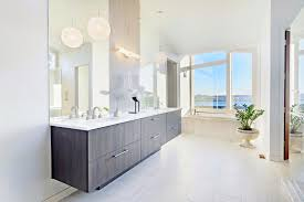 double sink floating bathroom vanity under large frameless mirror and pendant light also small plant bathroom vanity lights pendant