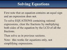 solving equations containing rational expressions 49 solving equations