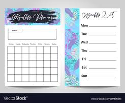 Monthly And Weekly Planners Modern Monthly Planner And Weekly List Template