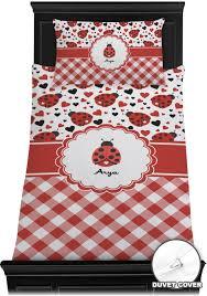 ladybugs gingham duvet cover set personalized