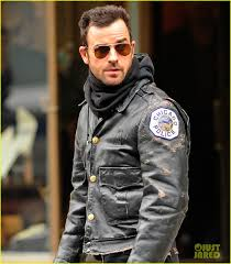 justin theroux stays warm in chicago police leather jacket
