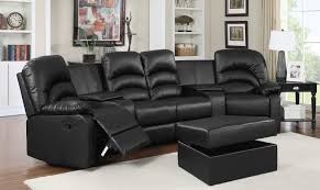 soflex lyra reclining black leather sectional w ottoman home theater seats