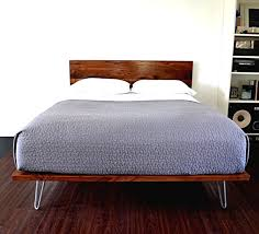 Platform Bed And Headboard On Hairpin Legs King Size