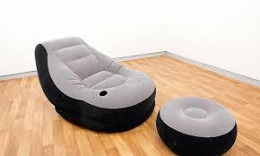 Флокированное <b>надувное кресло Intex 68564</b> с пуфиком ...