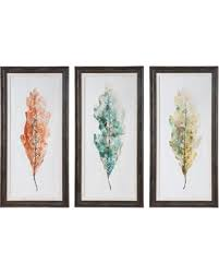 champagne leaves 3 pc modern wall art