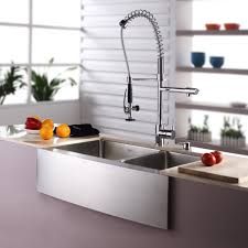 kraus khf20333kpf1602ksd30ch 33 inch farmhouse double bowl stainless steel sink with spiral spring faucet soap dispenser 10 inch bowl depth