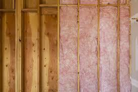 fiberglass insulation in a wall under construction