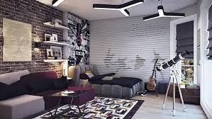 cool teenage furniture. Super Cool Teen Boy Bedroom Ideas Modern Furniture Brick Wall Floating Shelves Poster Teenage E