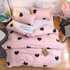 urijk textile home bedding sets pink heart love stripe duvet cover pillowcase sheet girl teen woman bed linen bedclothes duvet covers on designer