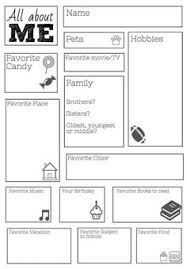 Small Picture All About Me Worksheet this would be cute for a time cap or 1st