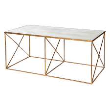 aidan gray furano gold coffee table with a gold leaf finish and antiqued mirror top