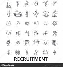 募集採用人材キャリア面接雇用スタッフの線のアイコン編集