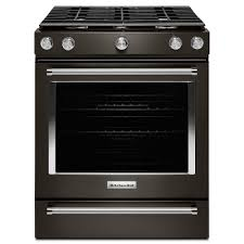 kitchenaid 5 8 cu ft slide in gas range in black stainless
