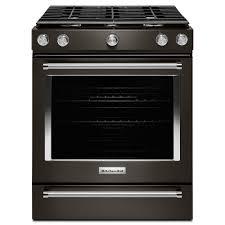 kitchenaid 5 8 cu ft slide in gas range in black stainless