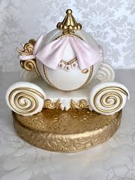 Fondant Cinderella Carriage Cake Topper Pink And Gold Cinderella