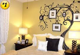 wall art for bedrooms yellow colour black tree wallpaper artistic five frame comfortable mattress with pillows on wall art bedroom decor with wall art simple wall art for bedrooms collection big canvas art