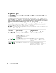 Dell Diagnostic Lights Diagnostic Lights Dell Optiplex 320 User Manual Page 34