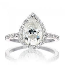 pear 9x6 moissanite ring diamond halo engagement ring