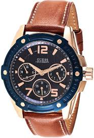 on watches buy watches online at best price in dubai abu guess flagship men s blue dial leather band multifunction watch w0600g3