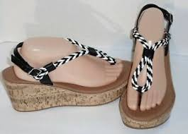 Details About Qupid Bali Sandals Black White Braided Platform Wedge Size 10 New 60