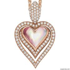 pink mother of pearl diamond heart pendant by jewelry designer kabana