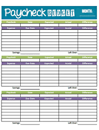 047 Budget Worksheet Template Printable Paycheck Front Home