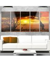 designart typical african sunset with giraffe oversized african landscape glossy metal wall art  on typical wall art size with snag this hot sale 15 off designart yellow road under sunset