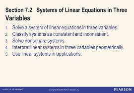 section 7 2 systems of linear equations in three variables