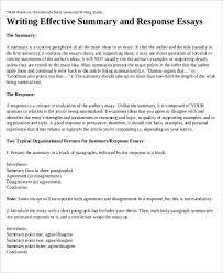 response essay sample examples in word pdf effective summary response essay