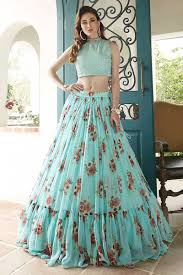 Designer Crop Top And Skirt Blue Crop Top Skirt With Floral Print