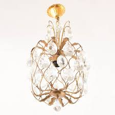 crystal and brass hall light from spain
