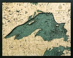 Lake Superior 3 D Nautical Wood Chart 24 5 X 31