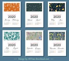 Photoshop Calendar Template 2020 2020 Calendar Templates Classical Floral Decor Vector Misc