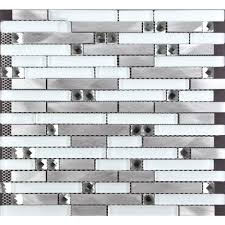 chenx 11 81 in x 12 40 in aluminum and glass mosaic backsplash in white silver black 11 19 sq ft case cca rrs6001 the home depot