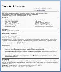 Qa Software Tester Resume Sample Entry Level Resume Skills Format