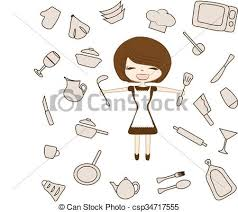 Set kitchen utensils silhouette tools appliances woman clipart