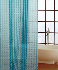 image of blue shower curtain liner