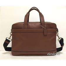 new coach f54801 hamilton in sport calf leather briefcase bag dark saddle