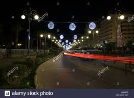 Special Lights Larnaca Night Cityscape Of Larnaca Cyprus Street Decorated With