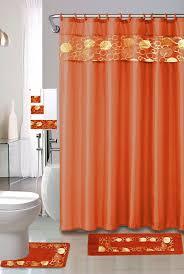 beautiful orange multi fl ferns bathroom shower curtain bath contour rug 15