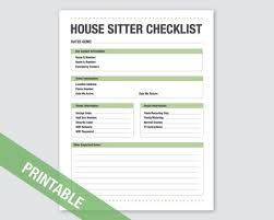 House Sitting Checklist House Sitter Checklist Printable Home Vacation Checklist Printable Organization Printable Household Planner Family 2019 Calendar