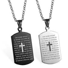 details about stainless steel carved cross lords prayer dog tag pendant men women necklace 22