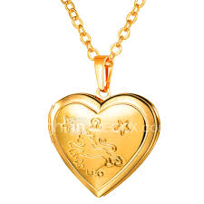 women s long engraved pendant necklace locket heart las romantic fashion heart gold silver 55 cm necklace jewelry 1pc for gift daily 06778008