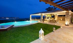 home swimming pools at night. Show Luxury Seafront Villa Corfu Piedra Swimming Pool Area By Night Home Pools At