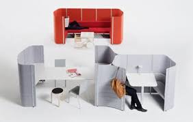 Felt Office Booths With Table  Urban Office Interiors
