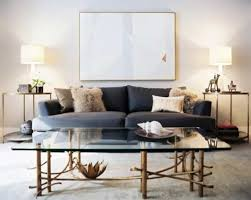 modern living room with grey sofa and side tables with table lamps intended for awesome coffee